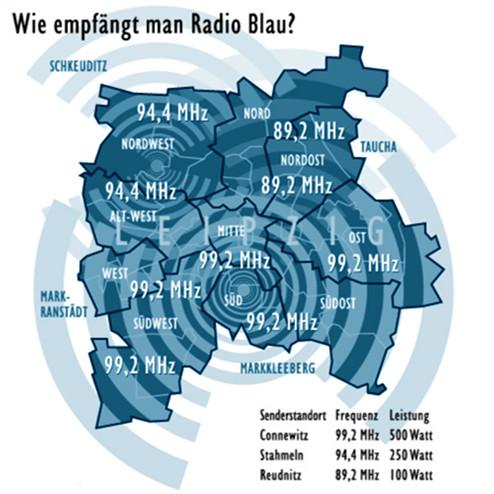 Karte mit den Frequenzen von Radio Blau (siehe Text). Senderstandorte und -leistungen: Connewitz 99,2 MHz 500 Watt, Stahmeln 94,4 MHz 250 Watt, Reudnitz 89,2 MHz 100 Watt